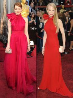 Nicole Kidman in Balenciaga at 2007 Oscar's and Emma Stone in Giambattista Valli at 2012 Oscar's