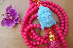 Long tassel necklace with Buddha and pink by AllAboutEveCreations, $30.00