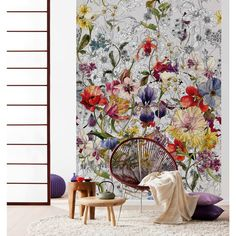 Hand-drawn flowers intertwine in black and white and bursts of color in this stunning mural. The beautifully intricate design turns a wall into a work of art. Flora wall mural comes on 4 panels. Mural Floral, Flower Mural, Poster Xxl, Poster Mural, Modern Floral Design, Forest Flowers, Flora Flowers, Hand Drawn Flowers, Home Wallpaper