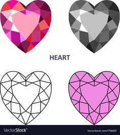 Heart gem cut vector image on VectorStock Gem Drawing, Diamond Drawing, Jewelry Drawing, Diamond Art, Heart Pics, Heart Pictures, Gem Tattoo, Artist Project, Pencil Painting