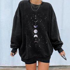 Moon Starry Sky Printed Women's Sweatshirt Moon Phases, Leaf Prints, Bomber Jacket, Shoulder Length, Tunic Tops, Sweatshirts, Casual, Sleeves, 16th Birthday