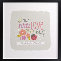 """Nursery Wall Art """"Our Little Love Bug"""". I found this beautiful and well designed nursery wall art that can be used in any kind of nursery and in particular a ladybug nursery theme."""