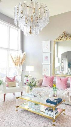 Living Room Interior, Home Living Room, Living Room Designs, Living Room Decor, Bedroom Decor, Pink Living Rooms, Pastel Living Room, Pastel Room, Colourful Living Room