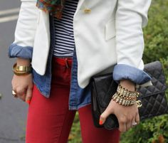 Displaying how to take your love of nautical into Fall/Winter 2013. Loving the red pants and chambray with a Chanel clutch. ::M::