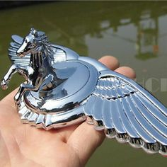 ... horse Car Logo Wing Front Cover Metal Hood Ornament Bonnet Emblems
