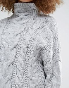 J.O.A   J.O.A High Neck Cable Sweater