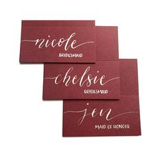 Burgundy wedding place cards with calligraphy, wedding stationery, name cards, table decorations Wedding Reception Seating, Wedding Guest List, Seating Chart Wedding, Seating Charts, Wedding Places, Wedding Place Cards, Wedding Signs, Wedding Shoot, Dream Wedding