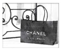 Chanel Shopping Bag, Fine Art Print, Watercolor Art Print, Coco Chanel Home Decor, Bedroom Living Room Bathroom Luxury Fashion Wall Art