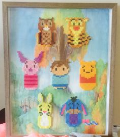 Winnie the Pooh and Friends Perler Bead Art! Includes Winnie the Pooh, Tigger, Piglet, Christopher Robin, Rabbit, Eeyore, and Owl! Finished art is