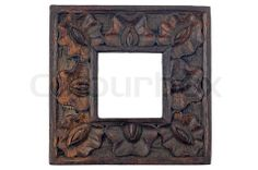 Image of 'Carved wood picture frame isolated on white background' on Colourbox White Background Images, Background S, Wooden Painting, Painting Frames, Wood Picture Frames, Wooden Frames, African Home Decor, Hand Carved, Carved Wood