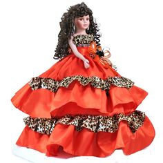 Quinceanera doll custom made in your theme color. Long Curly Hair, Curly Hair Styles, Ribbon Bouquet, Theme Color, Sweet 15, Quinceanera Dresses, Gold Dress, Flower Decorations, Favorite Color