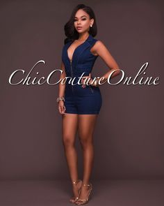 Chic Couture Online - Dayna Blue Denim Front Zipper Romper, $55.00 (http://www.chiccoutureonline.com/dayna-blue-denim-front-zipper-romper/)