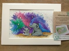 Sweet original nursery art - big elephant and little elephant watch the stars. by WhimsicolourArt on Etsy