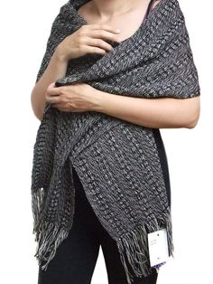 Black and white scarf. Cotton shawl. Scarves for women. Handwoven scarves. Mother's Day