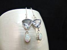 Opal & Alexandrite Sterling Silver Drop Earrings by WelshHillsJewellery on Etsy