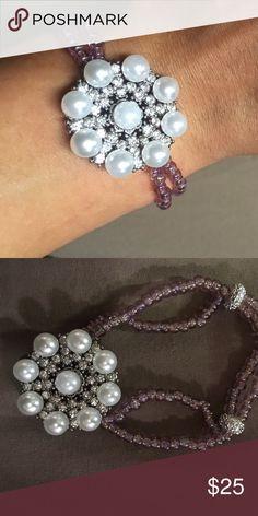Rhinestone embellished rhinestone bracelet Double stranded with light purple glass and rhinestone beads embellished with beautiful rhinestone and pearled flowered Jewelry Bracelets