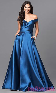 Long Off-the-Shoulder Prom Dress with Pockets at PromGirl.com