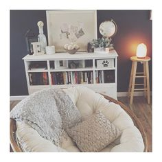 Refurbished dresser & a new cushion on an old papasan chair gives me the Joanna-Gaines-meets-Urban-Outfitters look I've been coveting for my living room #inlove #diy #fixerupper #refurbisheddresser #papasanchair #himalayansaltlamp #joannagaines #urbanoutfitters #UOhome #uoonyou #ellishousehold