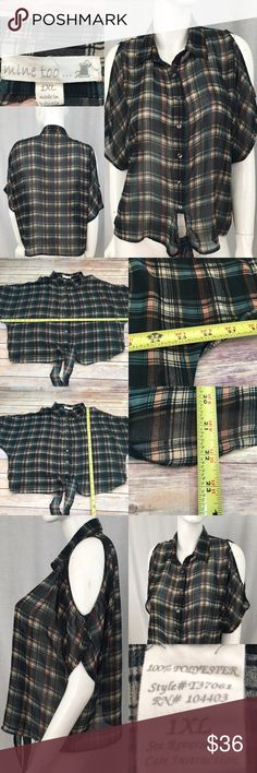 💌Sz 1X Mine Too Plaid Cold Shoulder Cropped Shirt Measurements are in photos. Normal wash wear, no flaws. A2  I do not comment to my buyers after purchases, do to their privacy. If you would like any reassurance after your purchase that I did receive your order, please feel free to comment on the listing and I will promptly respond. I ship everyday and I always package safely. Thanks! Mine Too Tops Crop Tops