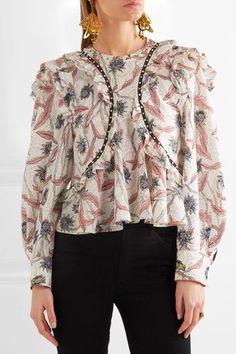 Isabel Marant - Uster Studded Lace-trimmed Printed Cotton Blouse - Ecru - FR