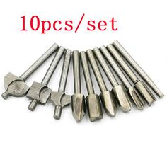 10pcs hss high-speed steel woodworking power trimmer engraving machine pattern cutter milling cutter