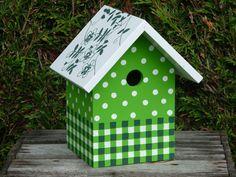 groen vogelhuisje stip en streep