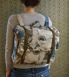 custom Convertible backpack messenger travel bag- blue floral rucksack with adjustable leather straps on Etsy, $225.00