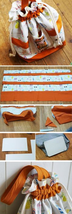How to Make The Drawstring Shoe Bag. Drawstring Bag Tutorial in pictures. http://www.handmadiya.com/2016/10/drawstring-bag-tutorial.html