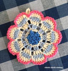❤︎Flower crochet potholder ❤︎ かぎ針編みでお花のポットマット❤︎