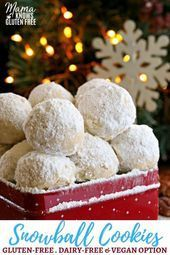 Snowball Cookies are a buttery shortbread cookie filled with nuts and rolled in powdered sugar. They are also known as Mexican Wedding Cake Cookies and Russian Teacakes. A classic Christmas cookie recipe. The recipe also has a dairy-free and Vegan option. Cookies Gluten Free, Gluten Free Christmas Cookies, Gluten Free Cookie Recipes, Gluten Free Sweets, Gluten Free Xmas Baking, Dairy Free Christmas Recipes, Mexican Wedding Cake Cookies, Mexican Cookies, Classic Christmas Cookie Recipe