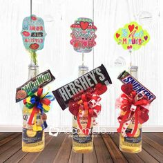The Top Romantic Gift Ideas – Gift Ideas Anywhere Diy Father's Day Gifts, Father's Day Diy, Craft Gifts, Diy Birthday, Birthday Gifts, Mini Alcohol Bottles, Easter Gift Baskets, Candy Gift Baskets, Candy Bouquet