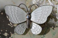 Volmer Bahner Denmark Sterling Silver White Gillouche Enamel Butterfly Pin | eBay