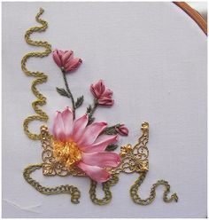 Wonderful Ribbon Embroidery Flowers by Hand Ideas. Enchanting Ribbon Embroidery Flowers by Hand Ideas. Ribbon Art, Diy Ribbon, Ribbon Crafts, Ribbon Flower, Green Ribbon, Types Of Embroidery, Crewel Embroidery, Embroidery Patterns, Ribbon Embroidery Tutorial