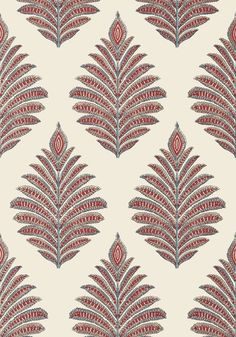 PALAMPORE LEAF, Red and Blue, AT78726, Collection Palampore from Anna French