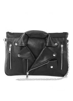 Leather Biker Jacket Shoulder Clutch Bag, £31.99