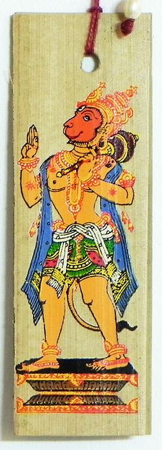 Hanuman ( Bookmark) - Patachitra on Palm Leaf (book)) Krishna Leela, Krishna Art, Hanuman Images, Hindu Deities, Hinduism, Leaf Book, Raja Ravi Varma, Shri Hanuman, Indian Folk Art