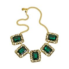 Yochi Linked Square Emerald Crystal Ornament Necklace (1,745 MXN) ❤ liked on Polyvore featuring jewelry, necklaces, accessories, jewels, colares, jewel necklace, crystal jewelry, antique jewellery, emerald jewelry and crystal stone jewelry
