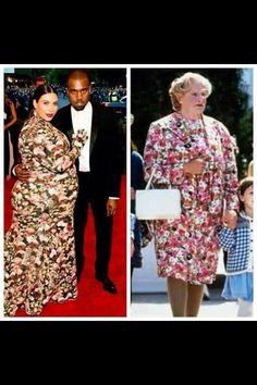 Kim #Kardashian is turning into Mrs. Doubtfire! #gross #funny #kanye