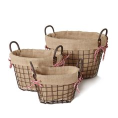 Furnistar Oval Rustic Vintage-Inspired Iron Baskets Handles Burlap Lining Dark Brown Home Decor Set of 3