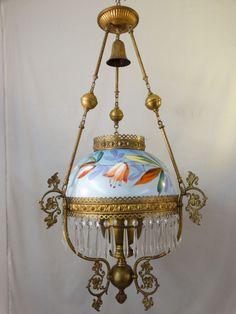 19thC Antique ART NOUVEAU Era BRASS Painted FLOWER Oil Lamp VICTORIAN CHANDELIER