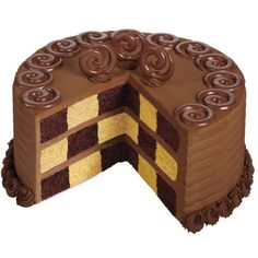 Chocolate Checkerboard Cake - It's a chocolate-lovers dream: a chocolate-and-vanilla checkerboard cake iced in chocolate buttercream icing. It's topped with candy accents molded with delicious Candy Melts candy.