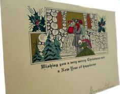 Edwardian Carolers Entertain on this Antique Christmas Card Singing in a Cold Winters Night by StructureandSpice on Etsy