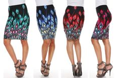 GroopDealz | Peacocks of a Feather Pencil Skirt - 4 Colors!