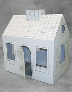 "Corrugated play house printed with 1 color line art that can be colored with crayons or markers. Assembles in minutes without tools. Size: 46"" x 50"" x 29"", Weight: 8 lbs."