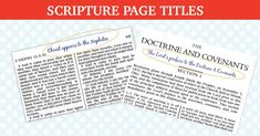 Doctrine and Covenants and Book of Mormon Scripture Titles