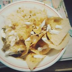Not the best picture but here's burritos for #tacotuesday and #nationaltacoday!  #rice #chips #salsaverde #cheese