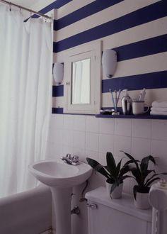 Simple Stripes - simple stripes update this old bathroom.
