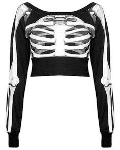 Killstar Skeletor Crop Sudadera Black Goth Oculto Para Mujer Top Puente Esqueleto in Ropa, calzado y accesorios, Ropa para mujer, Suéteres | eBay