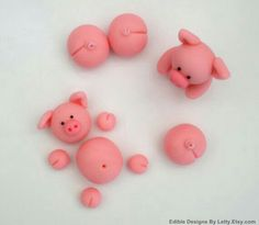 hahah Pigs Cake Topper - Edible fondant pigs for swimming pigs in Kit Kat barrel cake Cupcake Frosting Tips, Fondant Icing, Fondant Toppers, Fondant Cakes, Cupcake Toppers, Deco Cupcake, Cupcake Cakes, Decors Pate A Sucre, Barrel Cake