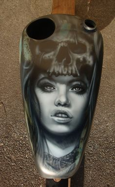 free hand airbrush hot chick with skull face on a sportster peanut tank I fabricated with a beer holder